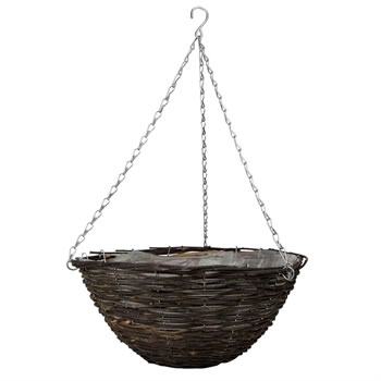 Image of 2 x Traditional 16-inch Rattan Hanging Baskets