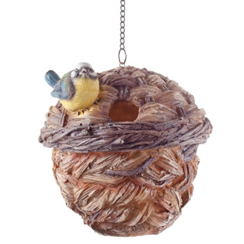 Extra image of Wooden Wicker Basket Look Hanging Bird House Nesting Box