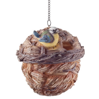 Image of Wooden Wicker Basket Look Hanging Bird House Nesting Box
