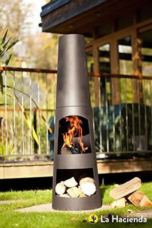Image of La Hacienda Circo 125cm Black Steel Chimenea Chiminea Patio Heater