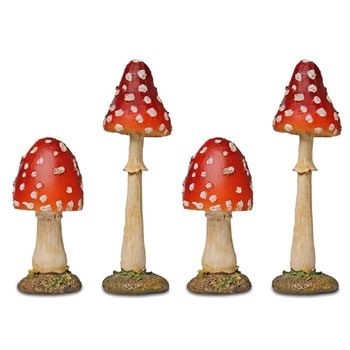 Image of Set of 4 Red Polyresin Pointed Head Mushroom Toadstool Garden Ornaments