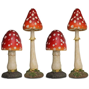 Image of Set of 4 Large Red Polyresin Pointed Mushroom Toadstool Garden Ornaments