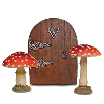 Image of Fairy Garden Starter Set - 2 Red Toadstool Mushroom Ornaments & Fairy Door