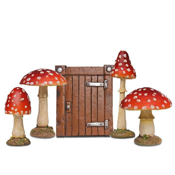 Image of Fairy Garden Starter Set - Brown Hobbit Door & 4 Red Toadstool Mushroom Ornaments