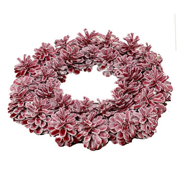 Image of Red Waxed Pine Cone Christmas Wreath
