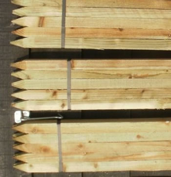 Image of 10 x 1.35m tall x 35mm square wooden pressure treated garden stakes