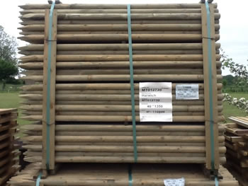 Image of 10 x 1.65m (5.5ft) x 40mm diam. round wooden fence posts stakes pressure treated