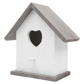 Image of Rustic White Wooden Heart Garden Bird Nesting Box