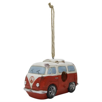 Image of Hanging Red Campervan Polyresin Bird House Nesting Box