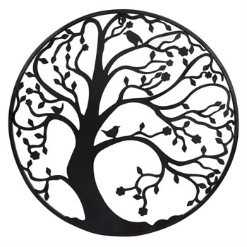 Image of Large 58cm Black Metal Tree Circle Wall Art Sculpture for Garden or Home