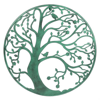 Image of Large 58cm Verdigris Metal Tree Circle Wall Art Sculpture for Garden or Home