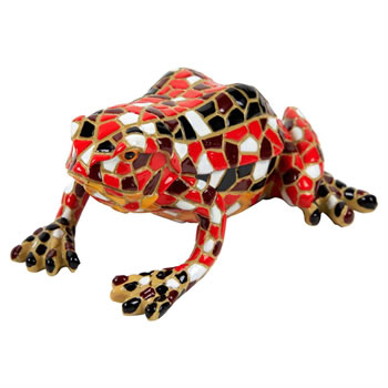Image of Red Mosaic Frog Polyresin Garden Animal Ornament