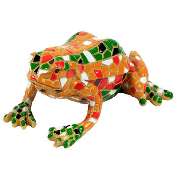 Image of Yellow Mosaic Frog Polyresin Garden Animal Ornament