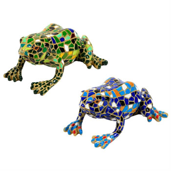 Image of Set of 2 Blue & Green Mosaic Frog Polyresin Garden or Home Ornaments