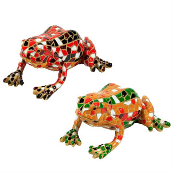 Image of Set of 2 Red & Yellow Mosaic Frog Polyresin Garden or Home Ornaments