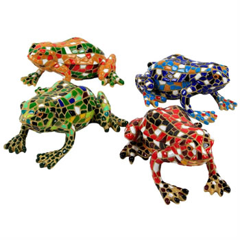Image of Set of 4 Coloured Mosaic Frog Polyresin Garden Animal Ornaments