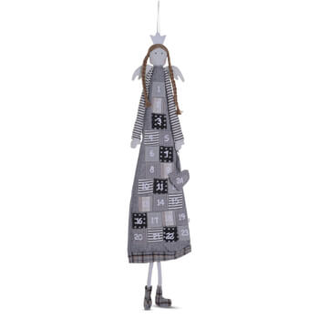 Image of Large Hanging Grey Fabric Christmas Angel Advent Calendar