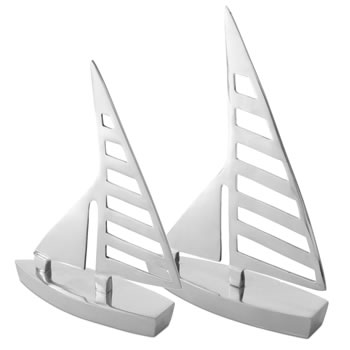 Image of 'Clipper' Pair of Silver Aluminium Sail Boat Home Bathroom Ornaments