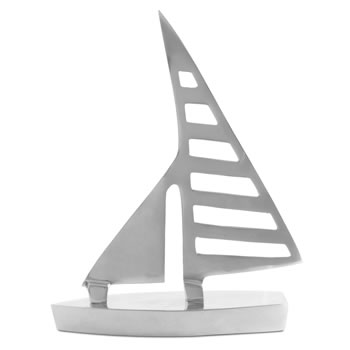 Extra image of 'Clipper' Pair of Silver Aluminium Sail Boat Home Bathroom Ornaments
