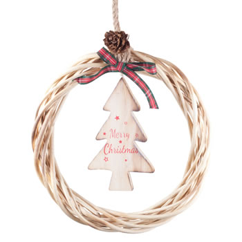 Image of Hanging Rustic Wood & Wicker 21cm Wreath with 'Merry Christmas' Tree