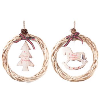 Image of Hanging Rustic Wood & Wicker 21cm Wreath Set with 'Merry Christmas' Tree & Rocking Horse