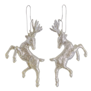 Image of Set of Two Hanging Silver Glitter Reindeer Christmas Decorations