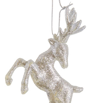 Extra image of Set of Two Hanging Silver Glitter Reindeer Christmas Decorations