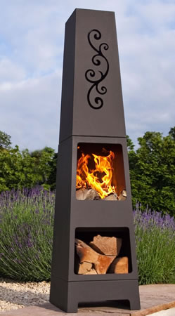 Image of La Hacienda Manoa Black Steel Garden Chiminea With Laser Cut Design 150cm High