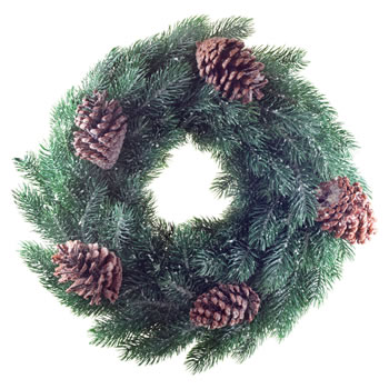 Image of 45cm Pine Cone & Realistic Artificial Green Fir Christmas Wreath Decoration