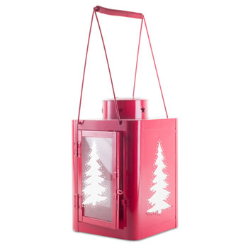 Extra image of Pair of Large 37cm Red Metal Star & Tree Cut-Out Candle Lanterns