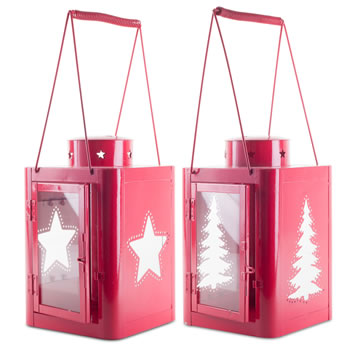 Image of Pair of Large 37cm Red Metal Star & Tree Cut-Out Candle Lanterns