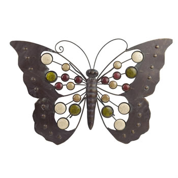 Image of Large Metal Butterfly Wall Art Ornament with Decorative Stones Garden & Home