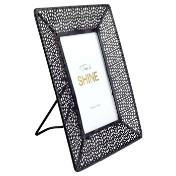 Image of Patterned Black Metal Photo Frame 10x15cm 7x9in