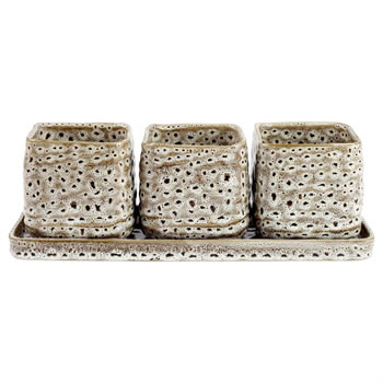 Image of Triple Ceramic Houseplant & Herb Pot Cover Set with Tray