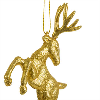 Extra image of Set Of Two Hanging Gold Glitter Reindeer Christmas Decorations