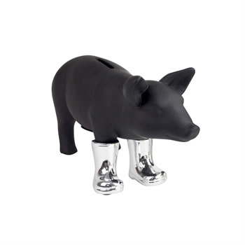 Image of Black Ceramic Pig Piggy Bank in Metallic Wellies (Silver)