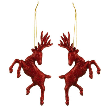Image of Set of Two Hanging Red Glitter Reindeer Christmas Decorations