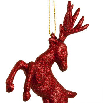 Extra image of Set of Two Hanging Red Glitter Reindeer Christmas Decorations