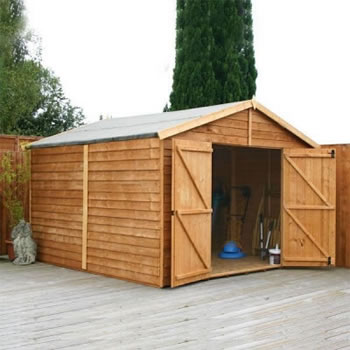 Image of 15 x 10 Windowless Overlap Apex Garden Wooden Shed Workshop