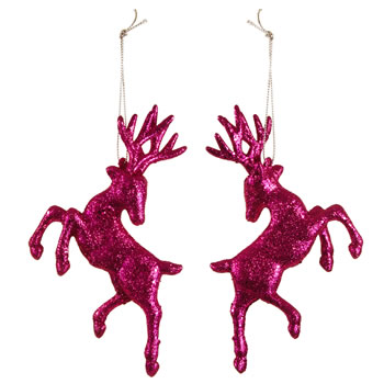 Image of Set of Two Hanging Pink Glitter Reindeer Christmas Decorations