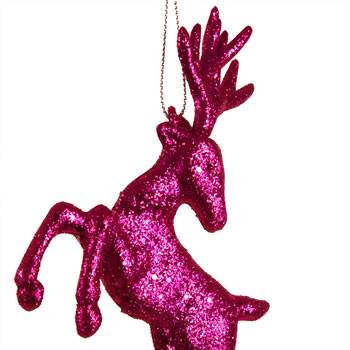 Extra image of Set of Two Hanging Pink Glitter Reindeer Christmas Decorations