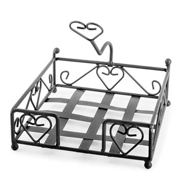 Image of 'Felicity' Brown Metal Napkin Holder with Heart Design