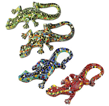 Image of Set of Four Mosaic Wall Lizard / Gecko Garden Animal Ornaments