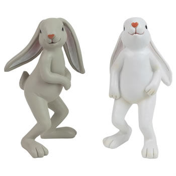 Image of Set of 2 Quirky Standing Rabbit Garden or Home Ornaments
