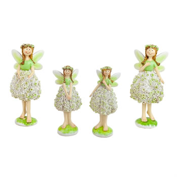 Image of Standing Summer Flower Fairy Garden Ornament Figurines (Set of 4)