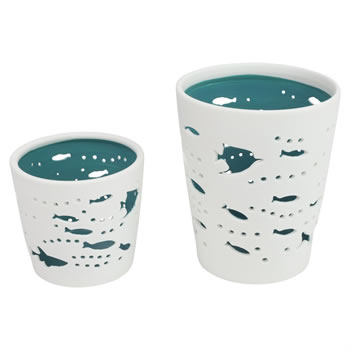 Image of White & Blue Porcelain Nautical Tea Light Candle Holder Sets (Teal - Big Fish)