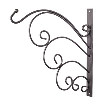 Image of Black Metal Garden Wall Hook Hanging Basket Bracket - Design A