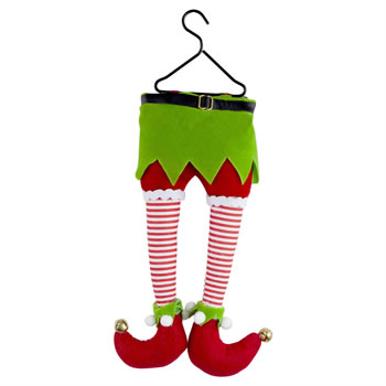 Image of Hanging Plush Elf Legs Christmas Tree Decoration
