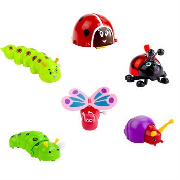 Image of Set of 6 Bug Insect Animal Wind-up Toys Kids Party Bag & Stocking Fillers