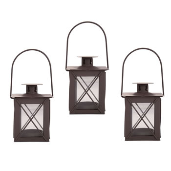 Image of Set of Three Small Traditional Metal & Glass Lantern with Handle